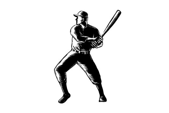 Baseball Player Batting Woodcut Black and White example image 1