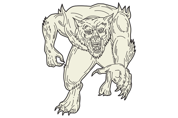 Werewolf Monster Running Mono Line example image 1