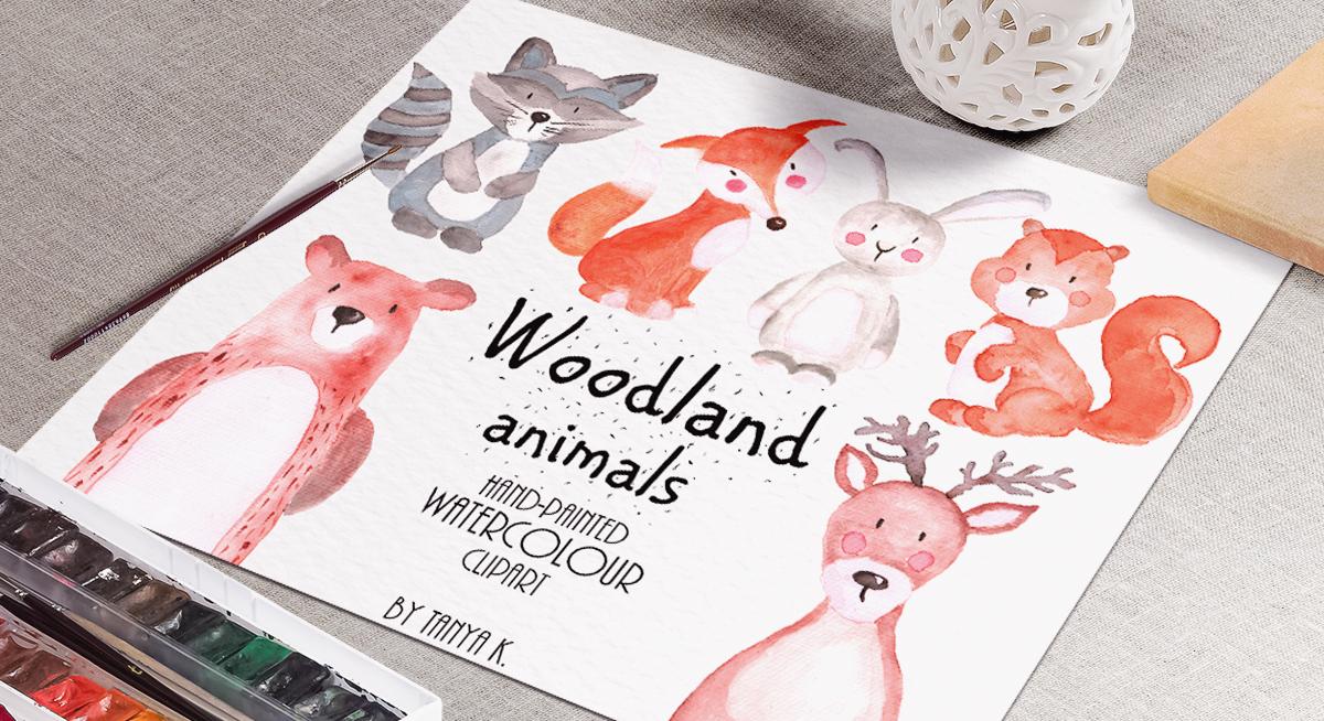Woodland Animals Watercolor Set example image 3