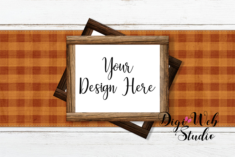 Mockup Bundle - Fall Country Wood Signs, Pillow & Coffee Cup example image 4