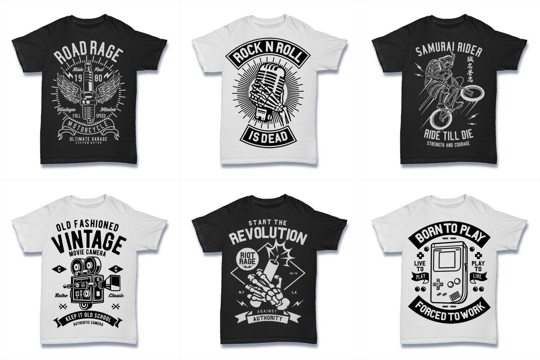 100  Vector Tshirt Designs ( B/W Concept ) example image 11