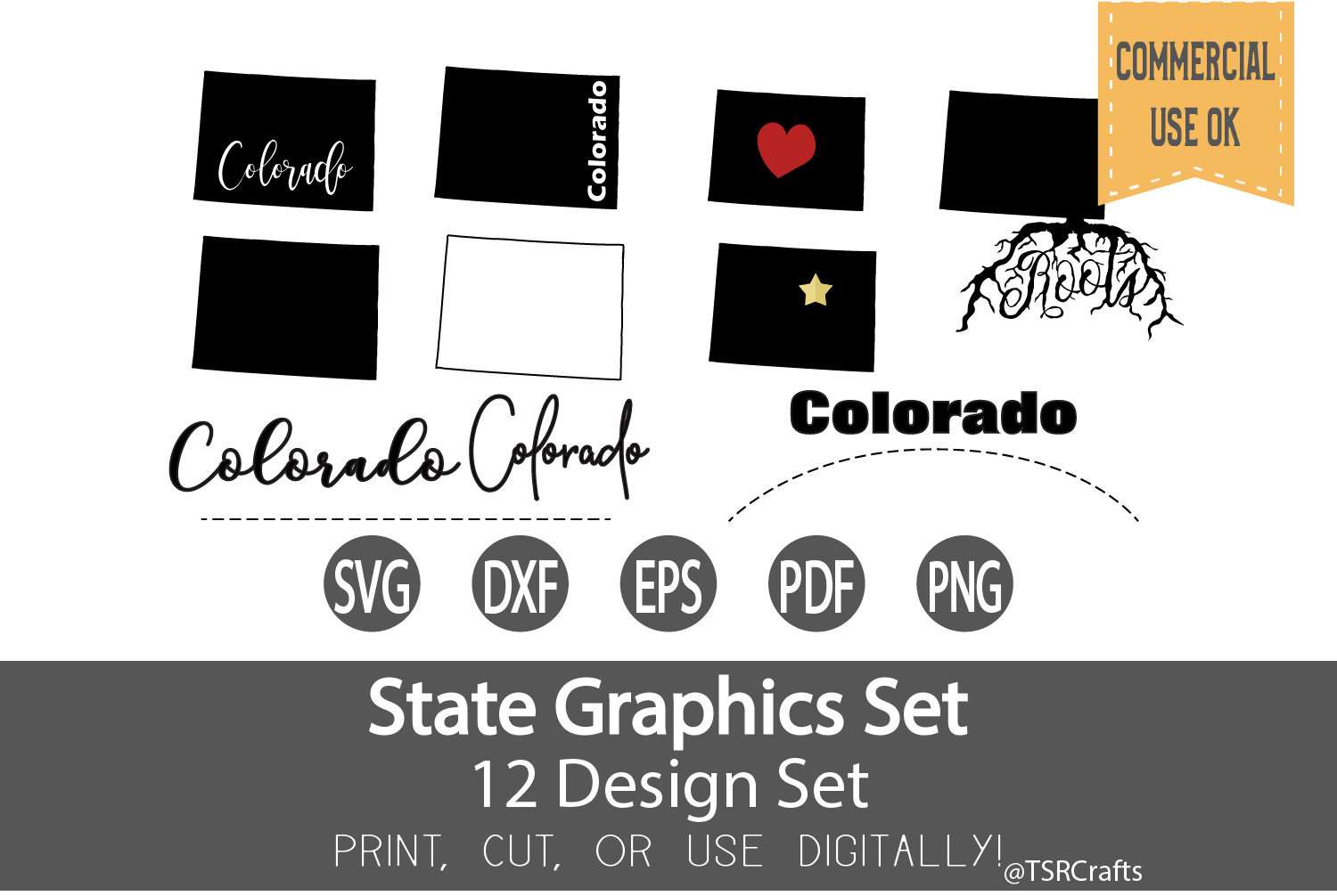 Colorado State Graphics Set - Clip Art and Digital Cut fil example image 1