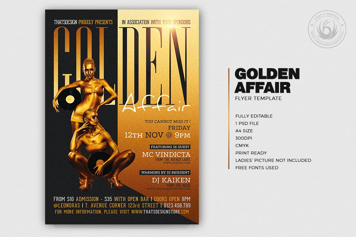 Golden Affair Flyer Template example image 2