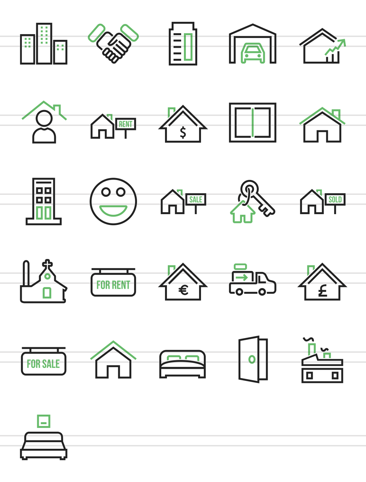26 Real Estate Line Green & Black Icons example image 2