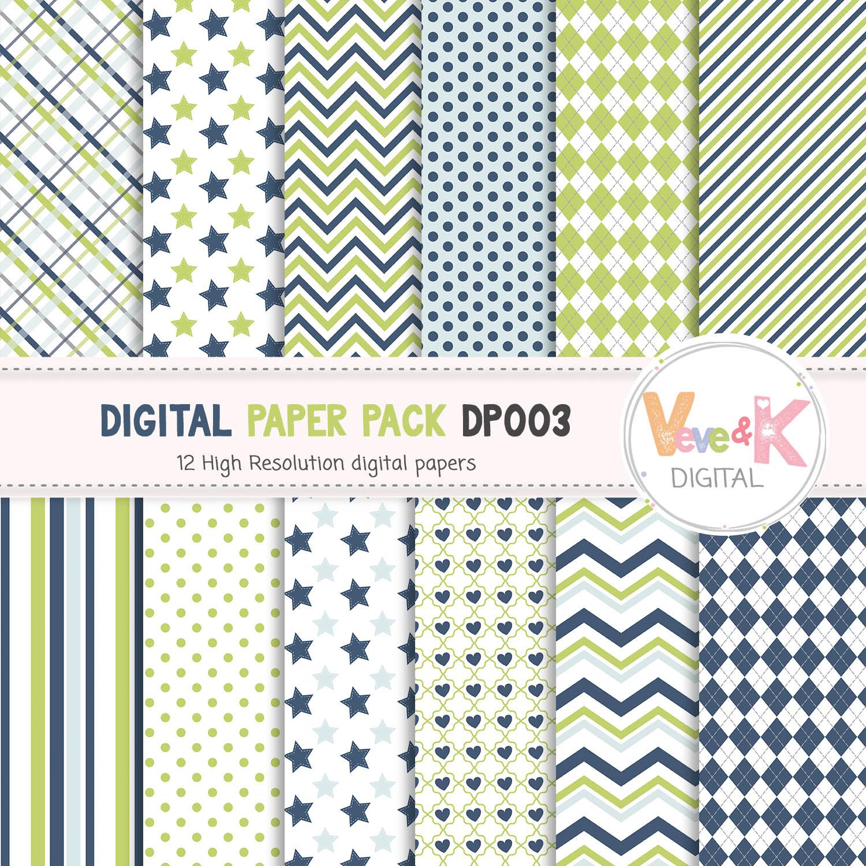 Blue Green Digital Paper Pack Scrapbook Digital Paper Page Scrapbooking Paper Set Blue Gray Papers Pattern Printable Background 75174 Patterns Design Bundles