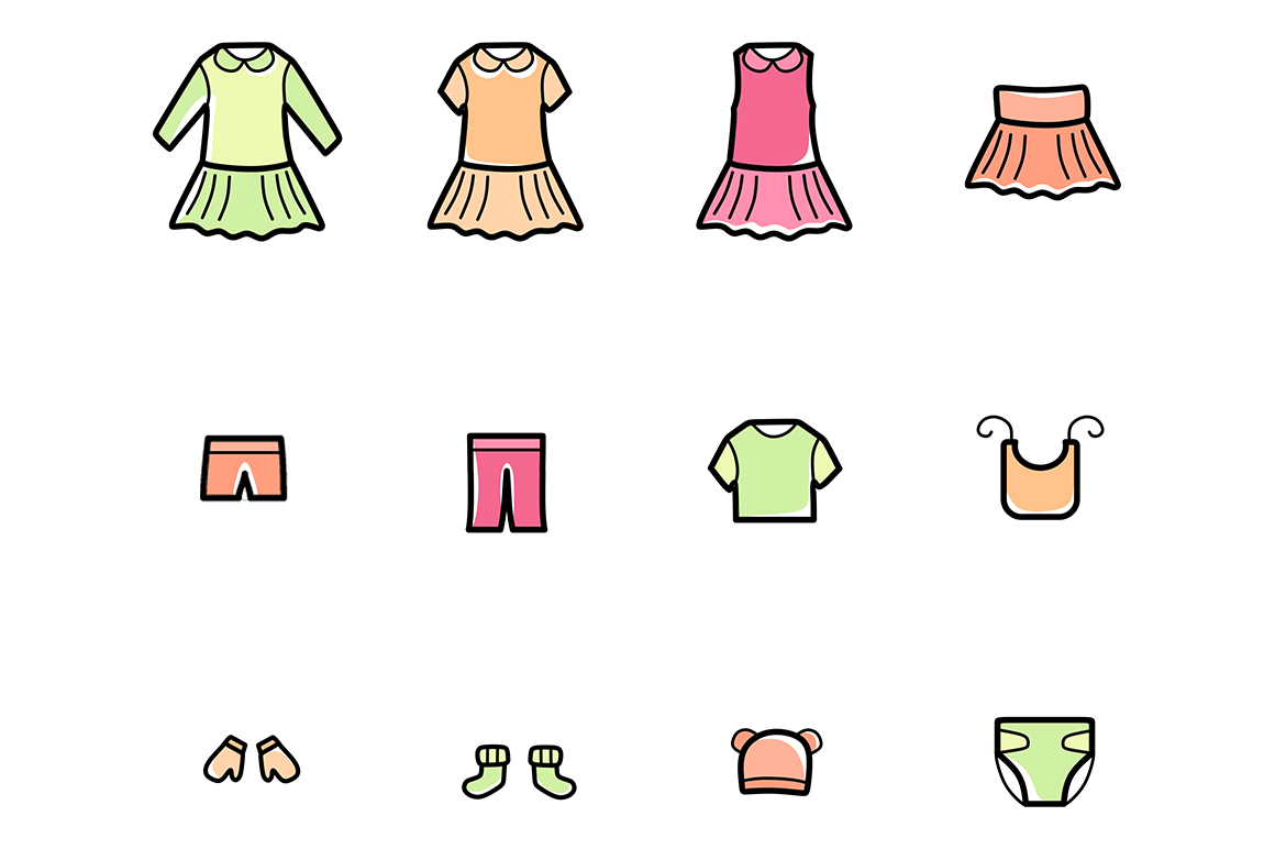 Baby Clothes Line Icons Set example image 5