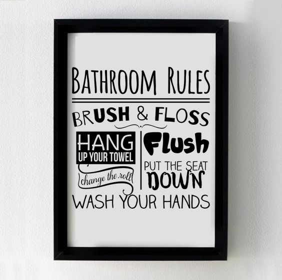Bathroom Rules Sign | Cut File SVG | PNG Printable example image 3