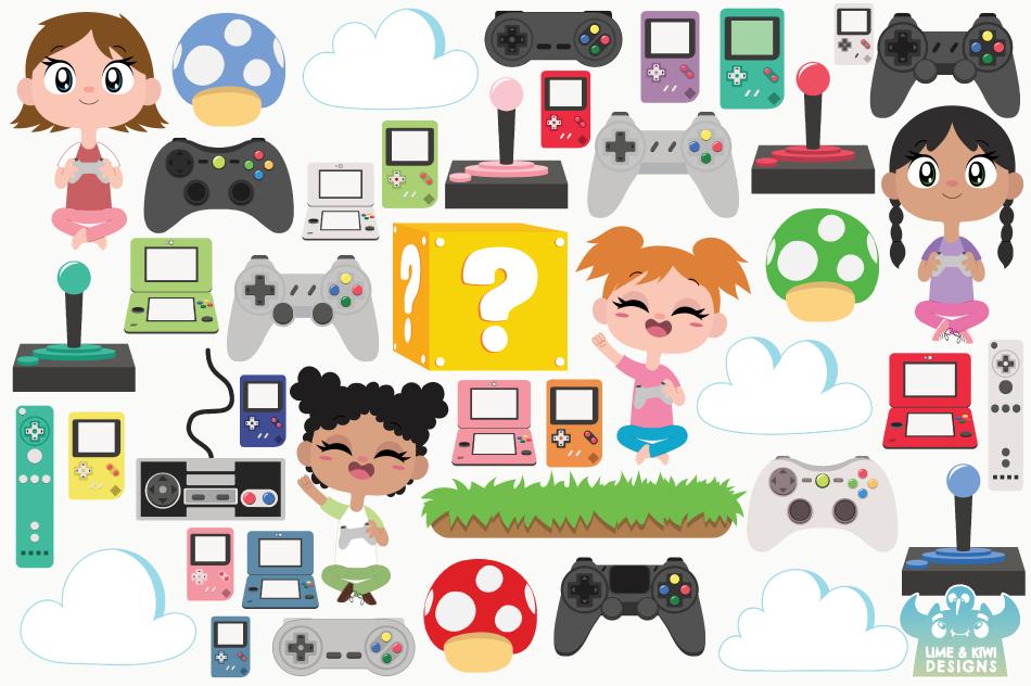 Gamer Girls Clipart, Instant Download Vector Art example image 2