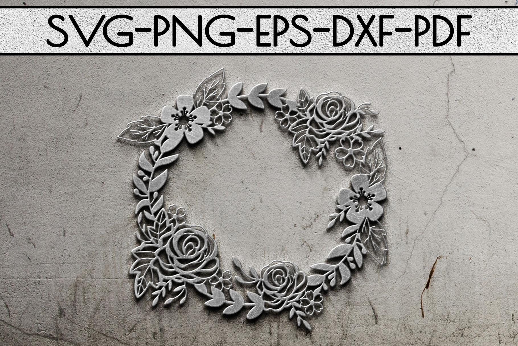 Floral Wreath Papercut Template, Spring Design SVG, PDF, DXF example image 2