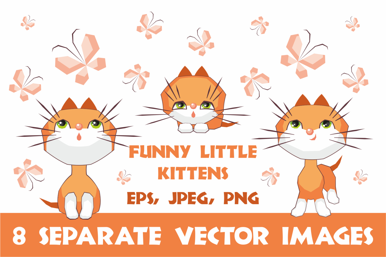 Funny little kittens. Vector clip art. example image 1