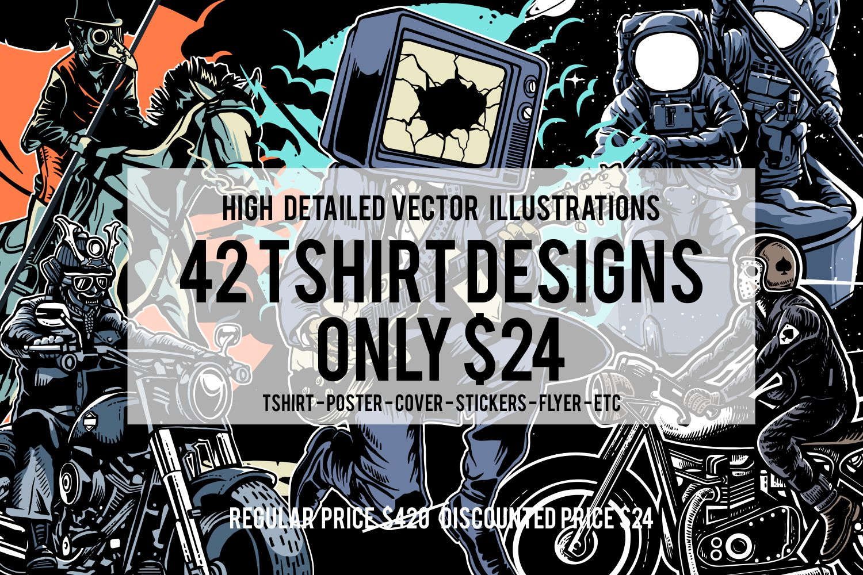 42 Tshirt Designs Bundle example image 1