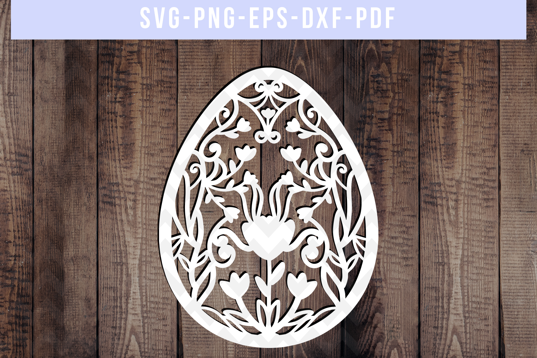 Easter Egg Papercut Template, Spring Decor, SVG, PDF, DXF example image 1