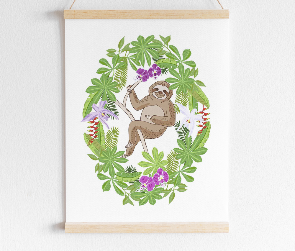 Sloths in Jungle Digital Clipart example image 4