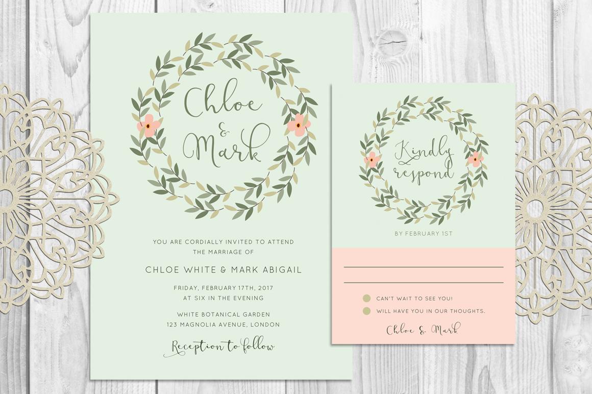 Leaves Wreath Wedding Invitation example image 1