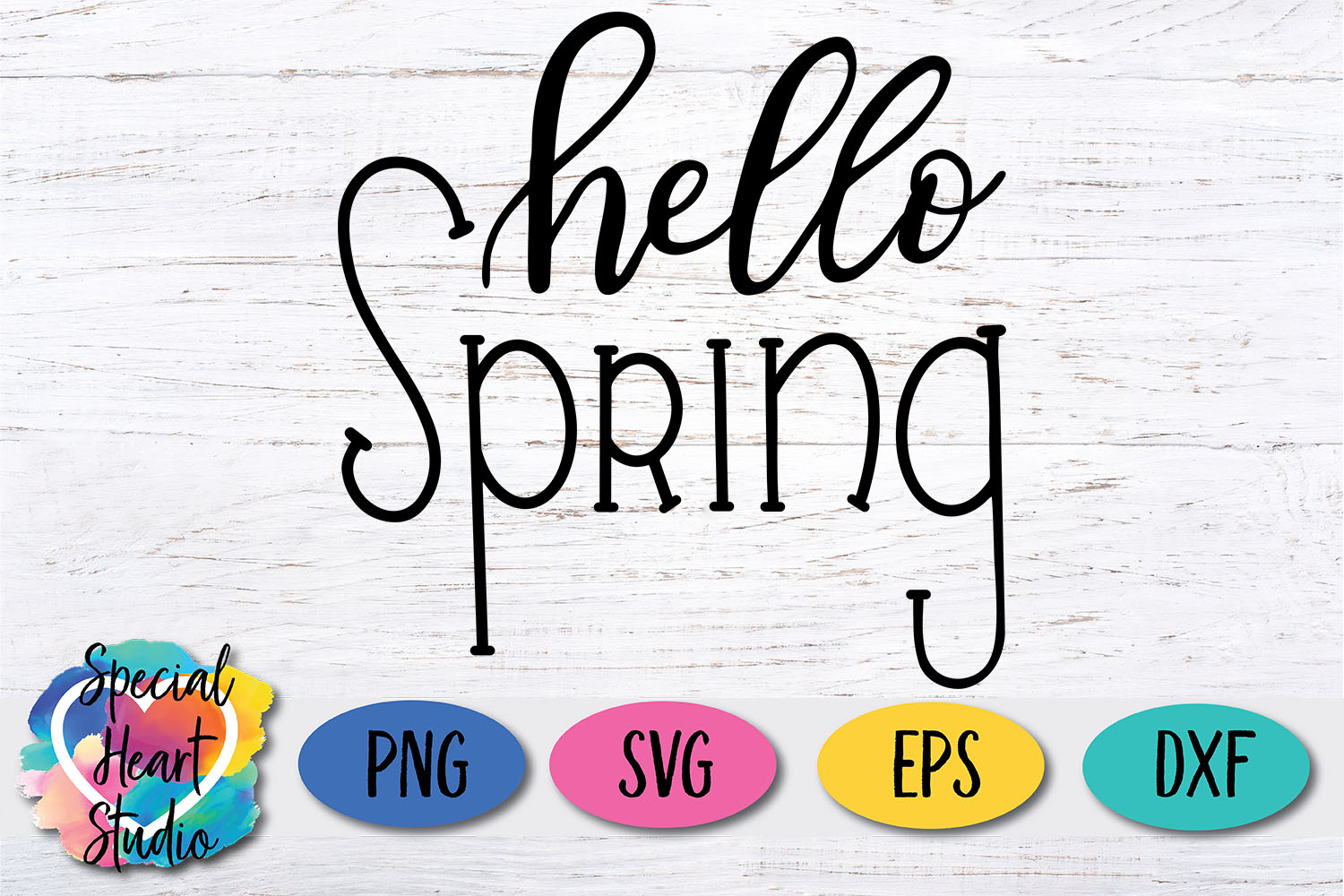 Hand lettered Hello Spring SVG - Home decor, sign, pillow example image 3
