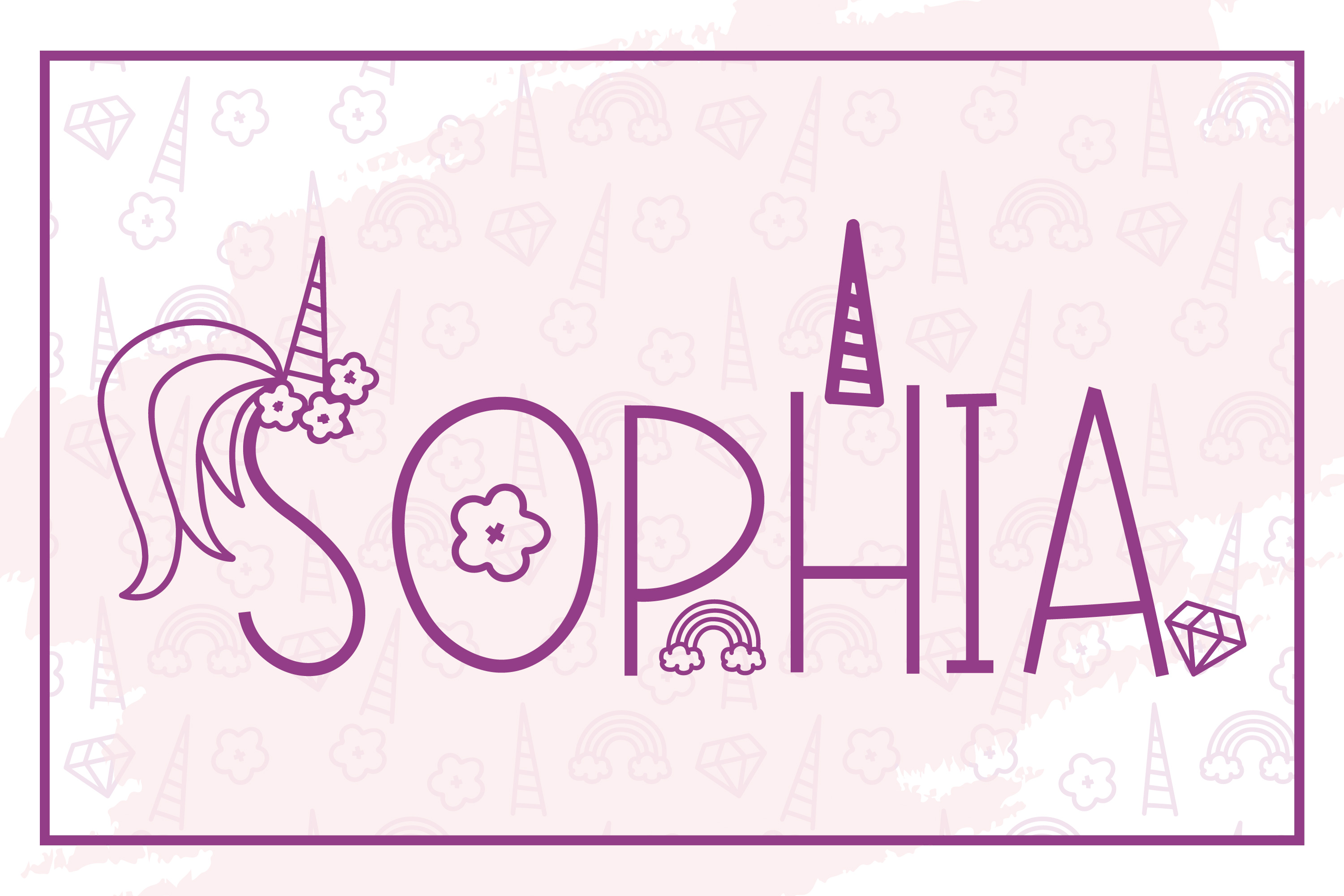 Pink Unicorn - A Magical Monogram Font example image 5