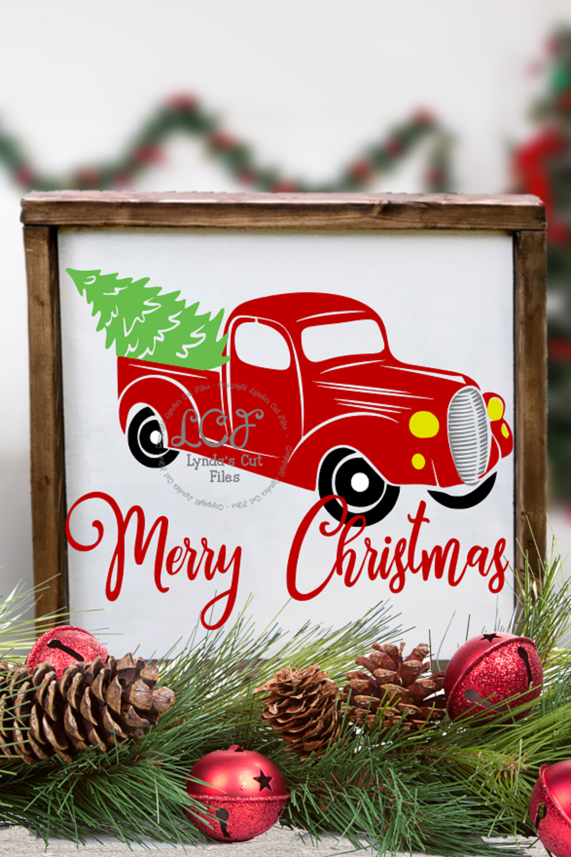 Merry Christmas with Red Truck//SVG//EPS//DXF example image 2