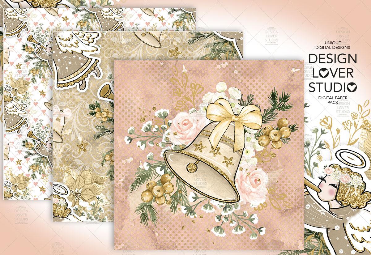 Christmas Angel digital paper pack example image 4