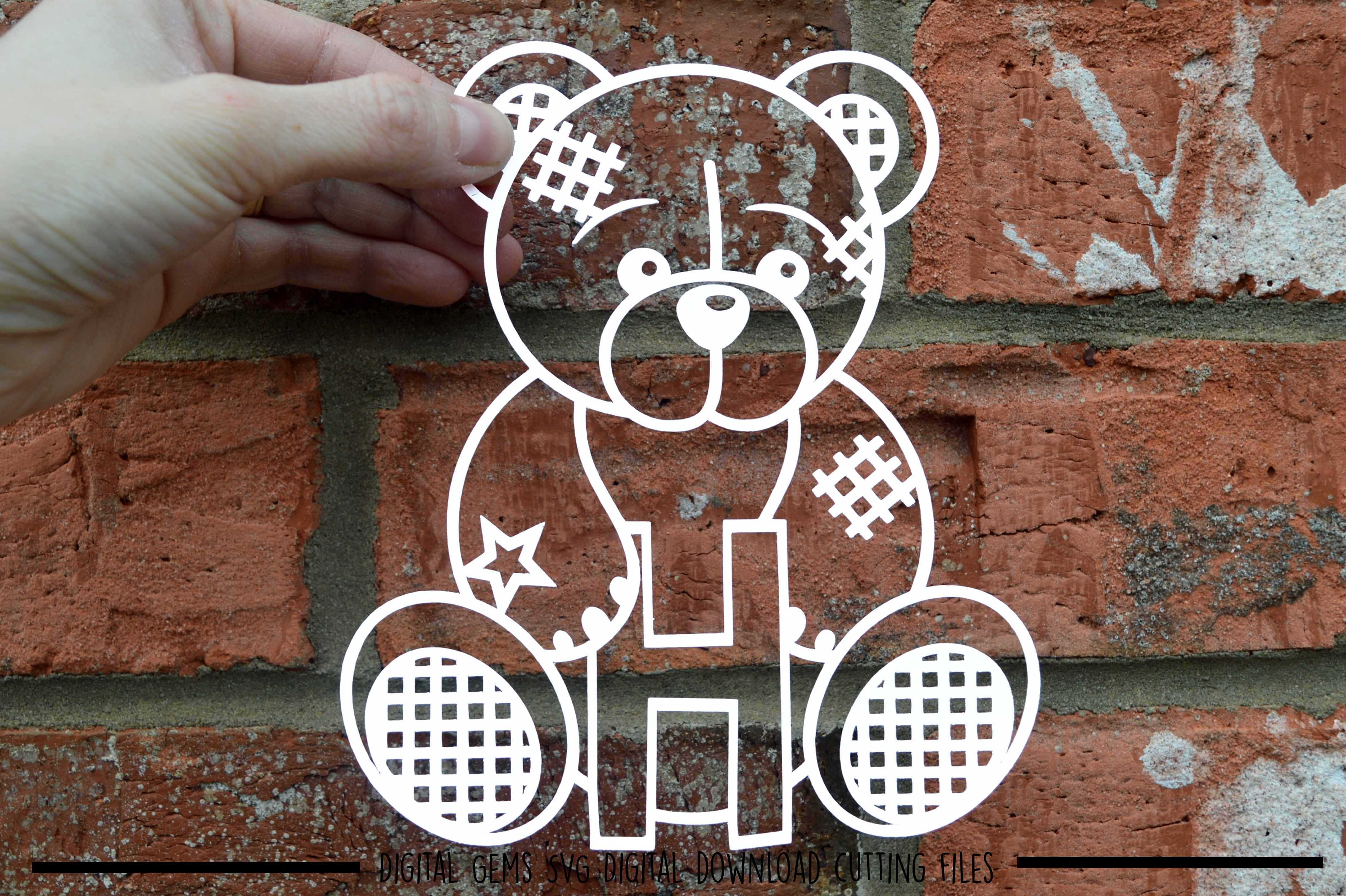 Alphabet teddy bear paper cuts SVG / DXF / EPS files example image 10