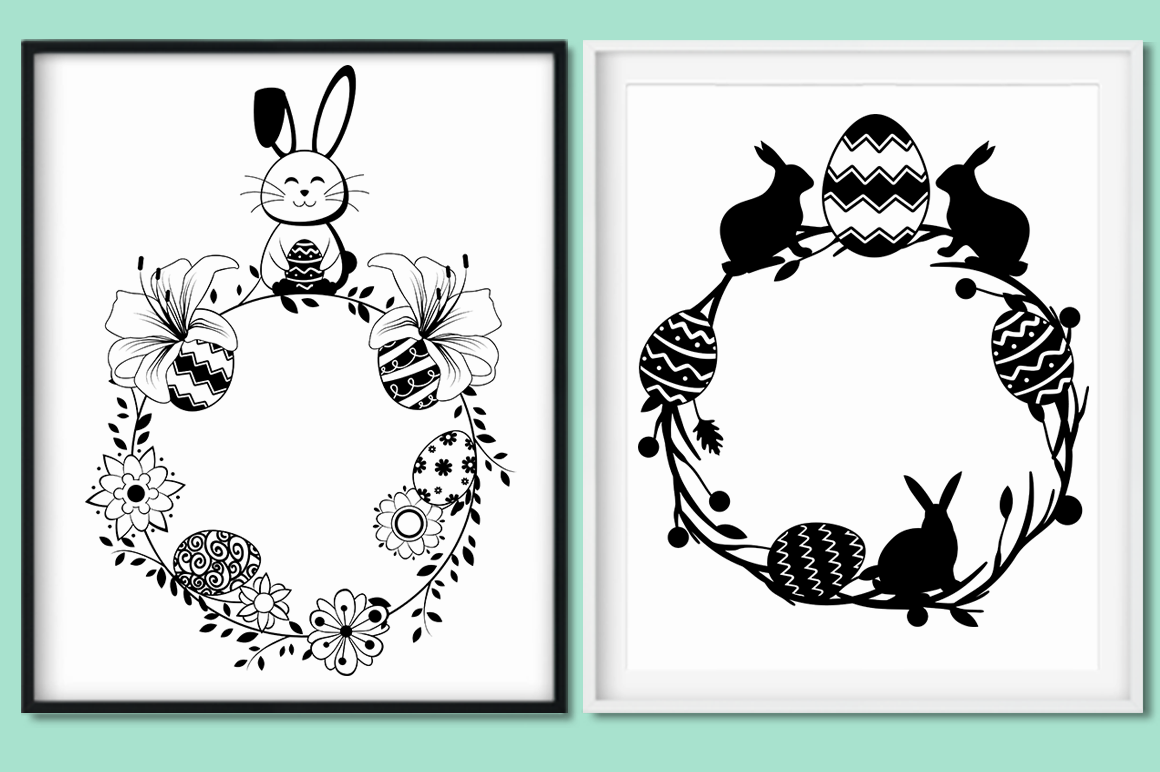 Easter Wreaths SVG Cut Files Pack example image 2