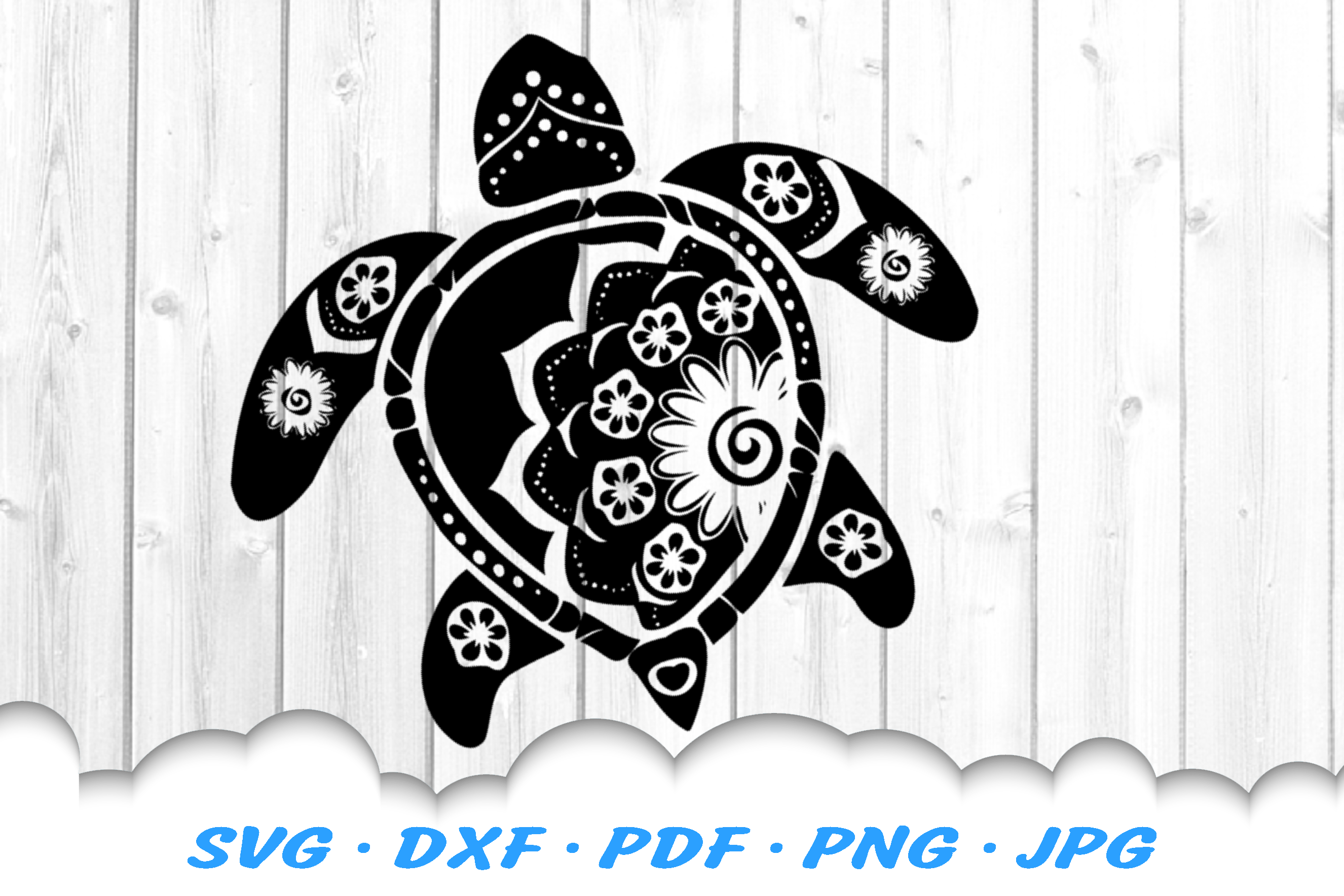 Mandala Sea Turtle SVG DXF Cut Files Bundle example image 4