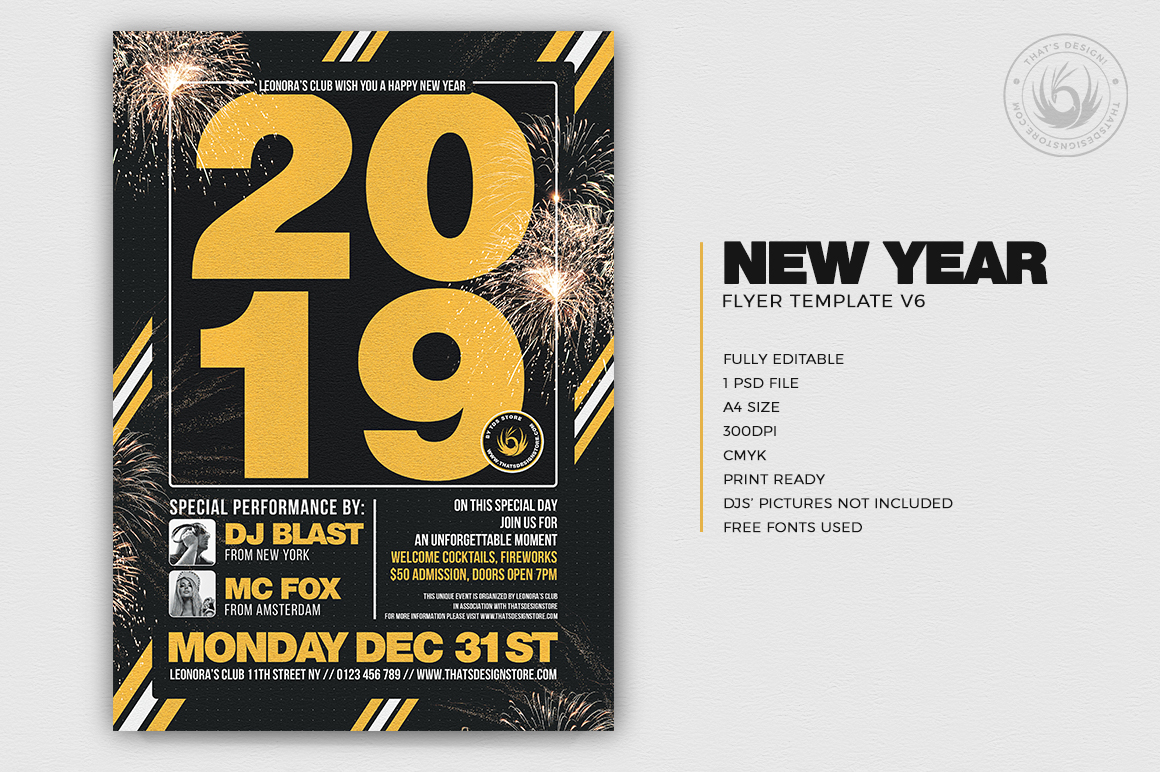 New Year Flyer Template V6 example image 2