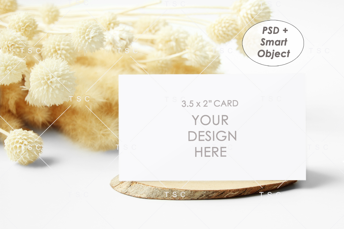 """3.5"""" x 2"""" Card Mockup / Place Card / Business Card Mockup example image 1"""