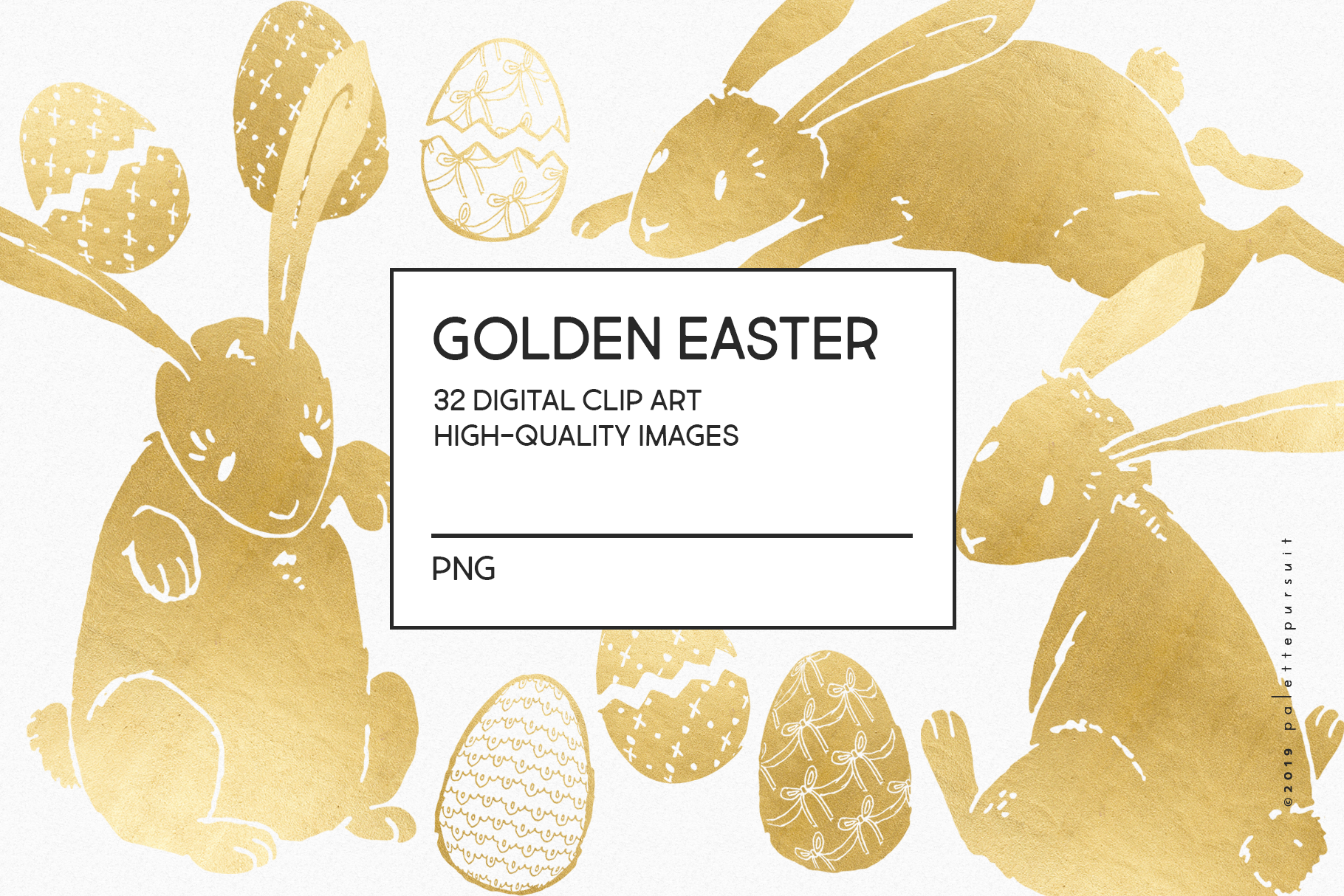 Gold Easter egg and Easter bunny clip art example image 4