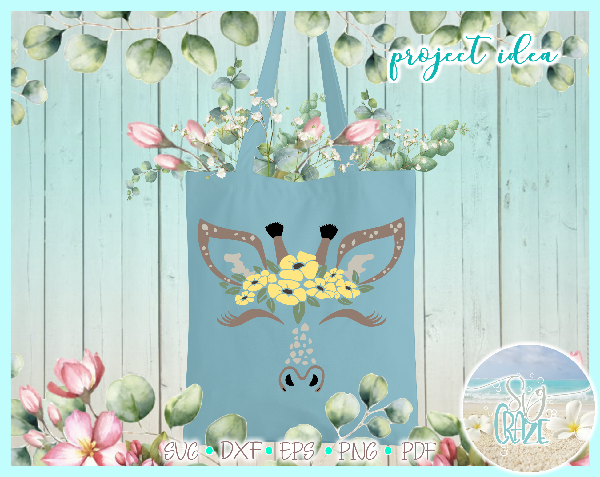 Giraffe Face With Flowers SVG DXF EPS PNG PDF files example image 2
