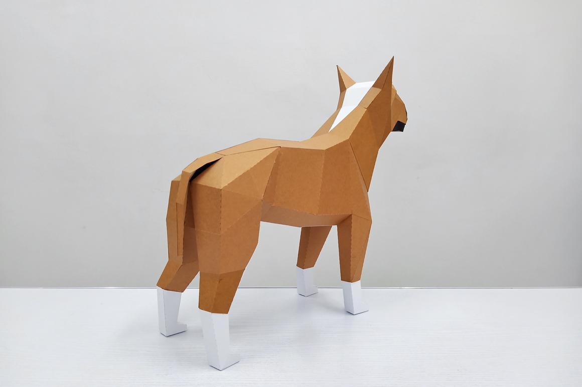 DIY Papercraft Bull Terrier model, papercraft dog sculpture example image 3