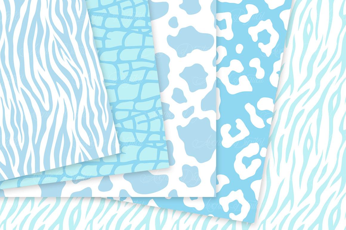 Blue Animal Print Vector Patterns -  Baby Blue Safari Seamless Digital Papers example image 4