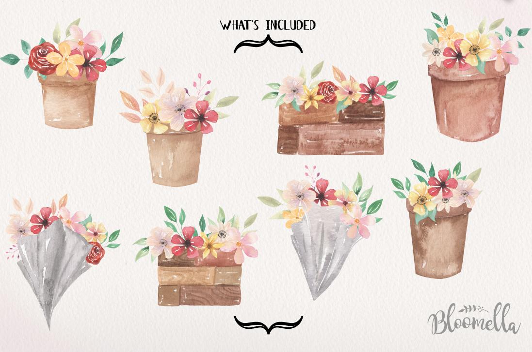 Floral 8 Bouquets Boxes, Flower Pots Watercolor Elegant example image 4
