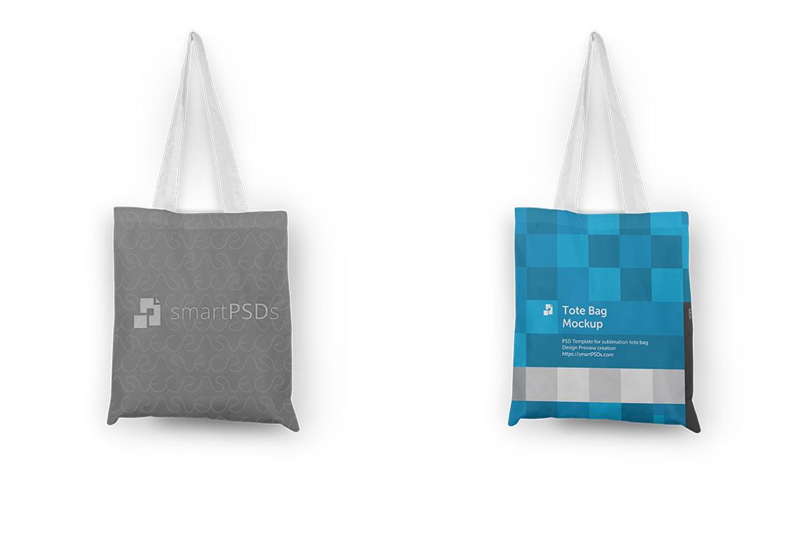 Tote Bag with Shine Mesh Sublimation Design Mockup - 3 Views example image 2