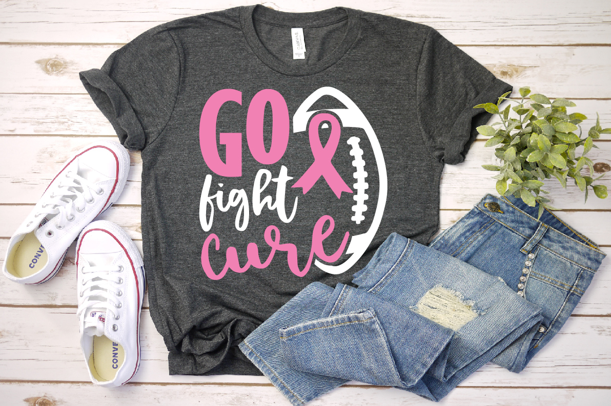 Football Tackle Breast Cancer Svg,,Go fight cure svg, example image 1