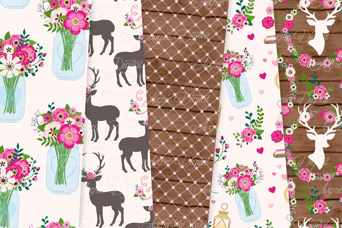 Hot Pink Rustic Wedding Digital Paper - Bright Pink Rustic Deer Wedding Seamless Patterns example image 4