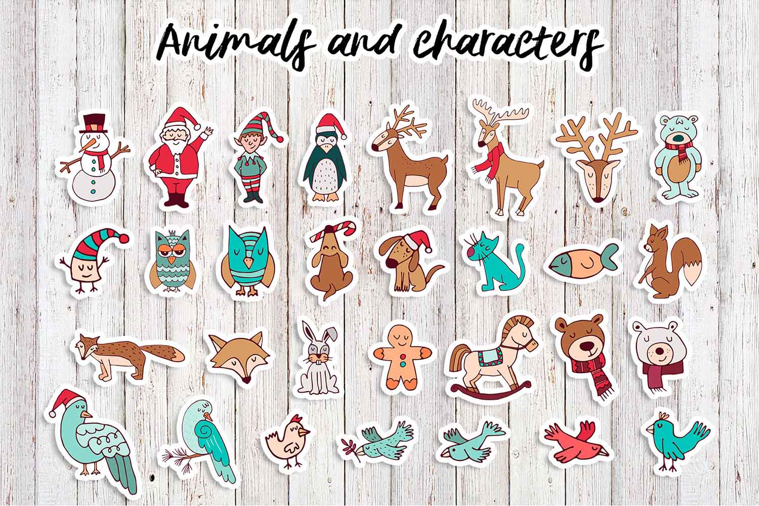 Sweet Christmas: hand drawn set with cute animals example image 4