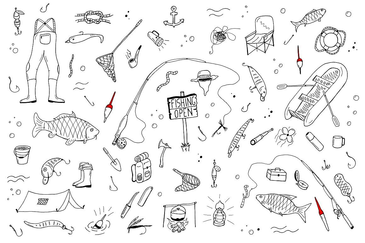 Fishing doodle set+seamless patterns example image 6