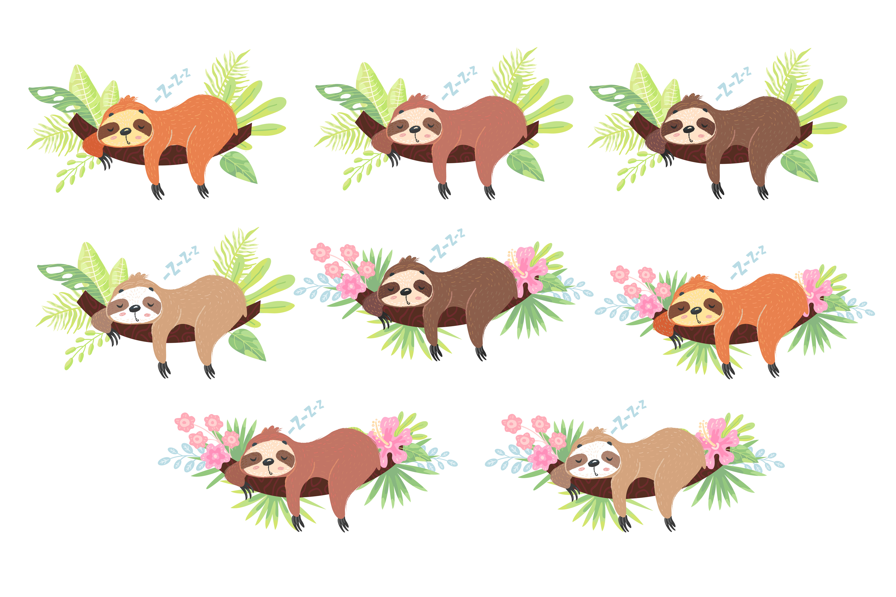 Sleepy Sloth Clipart Collection, Vector and Png example image 2