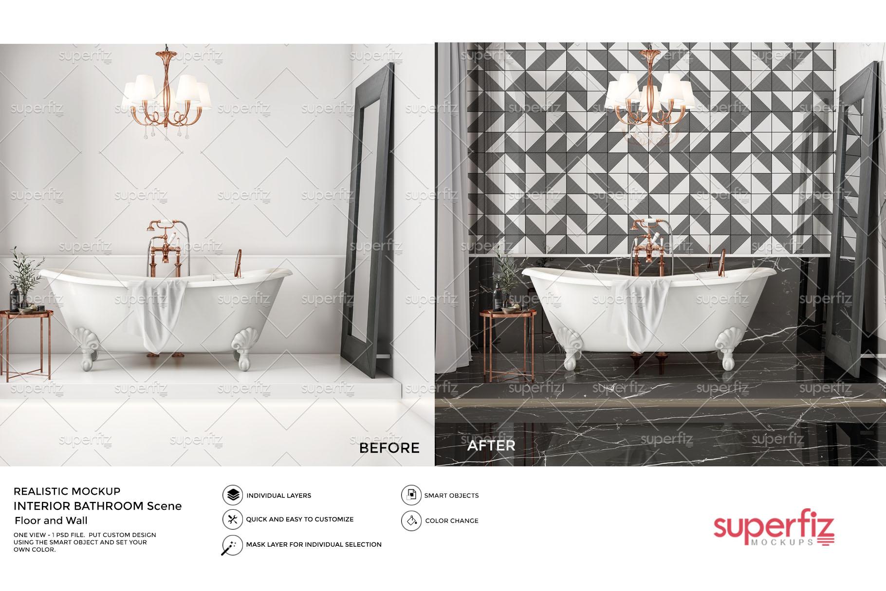 Floor and Wall PSD Mockup Bathroom Scene SM104 example image 3