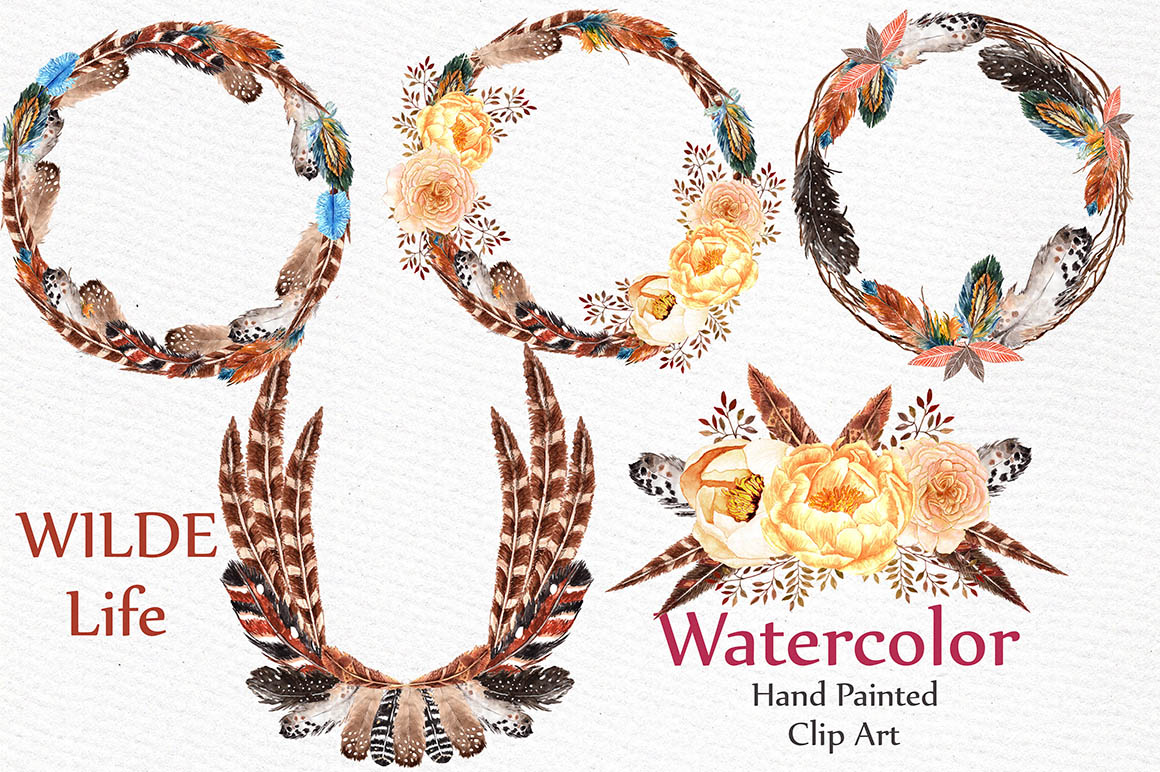 Watercolor feather wreaths clipart example image 1