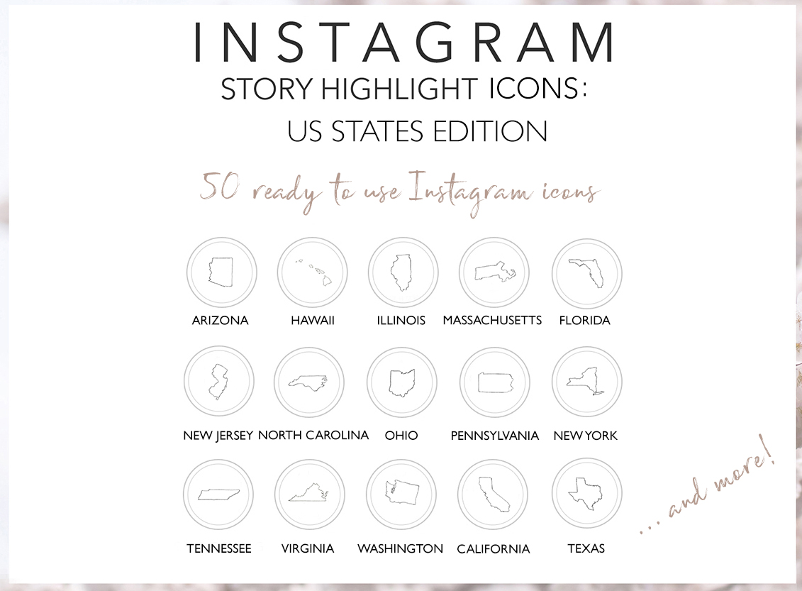 Instagram Story Highlights US States Icons, 50 Hand Drawn example image 2