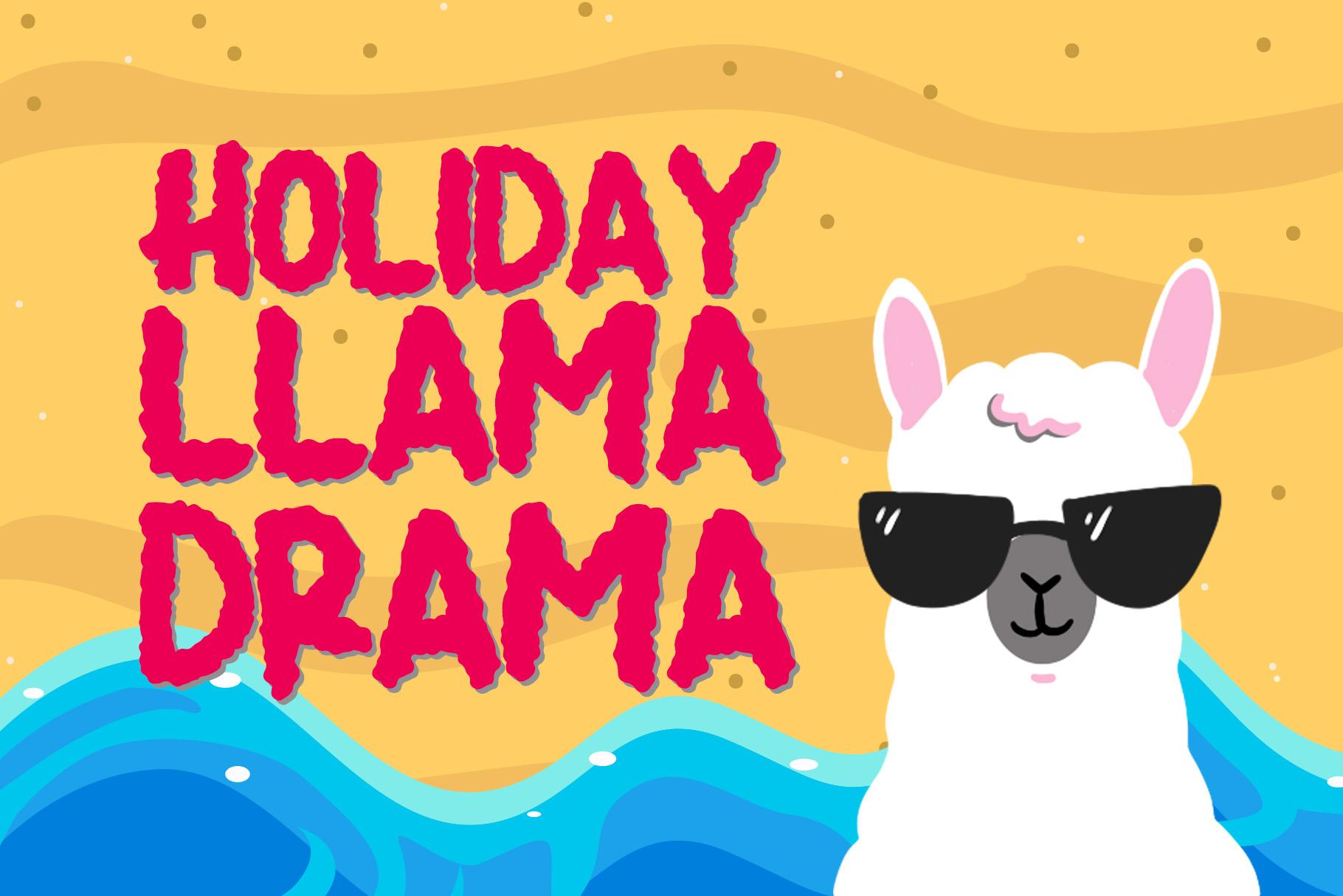 Summer Llama Typeface - Extra Drawing Llama example image 7