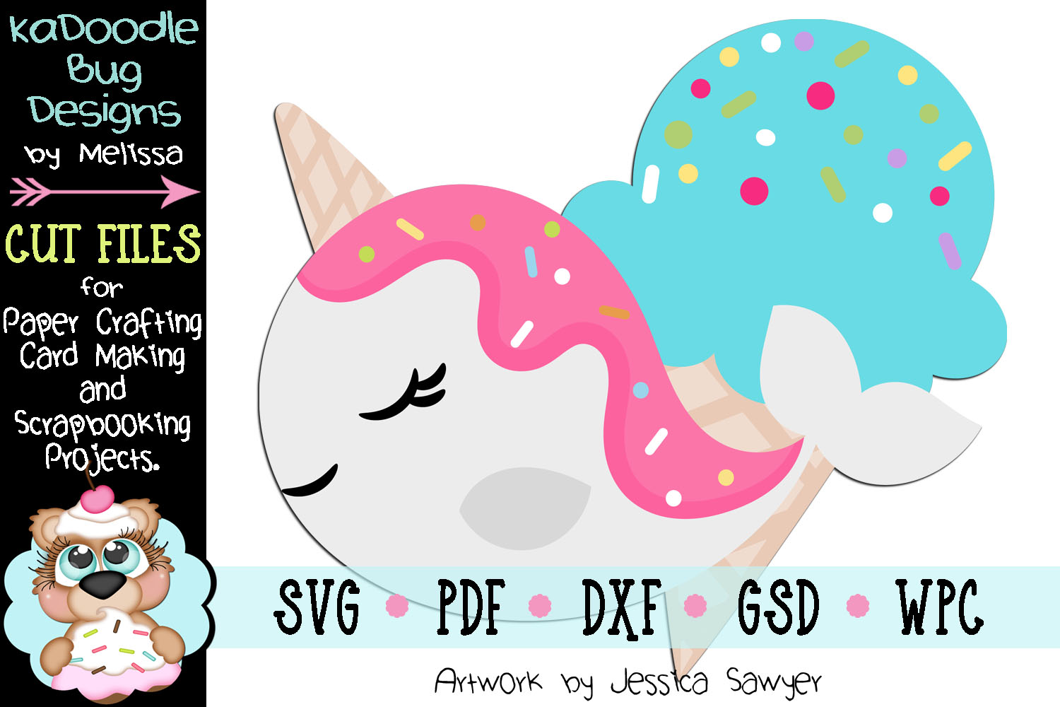 Ice Cream Narwhal Cut File - SVG PDF DXF GSD example image 1
