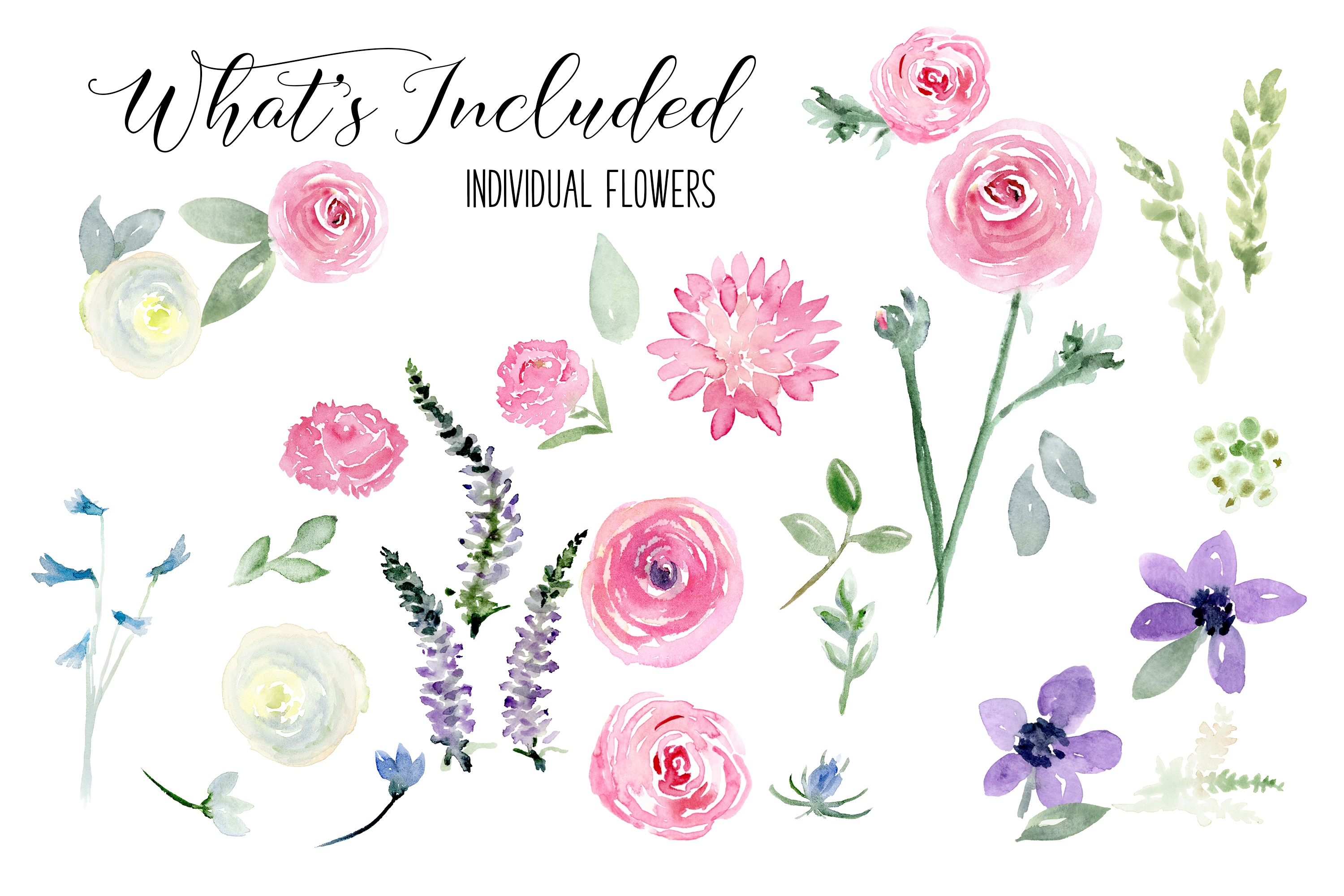 Watercolor Floral Bundle Pink, Purple Blue Flowers & Yellow example image 7