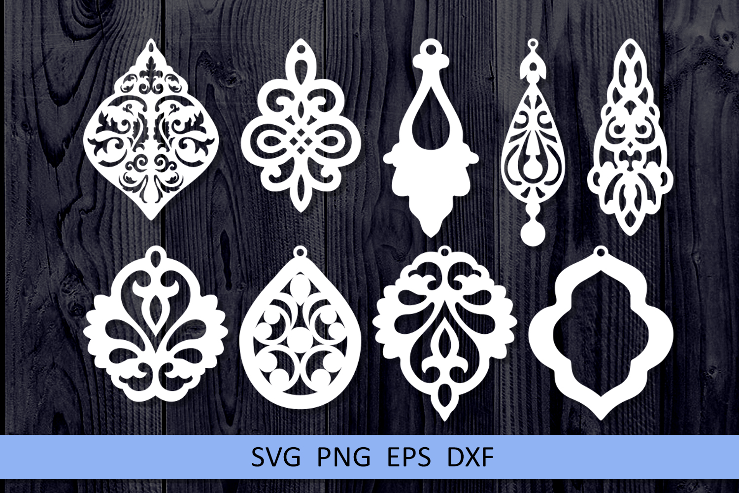 9 Damask earrings svg Leather earrings svg Necklace svg example image 3