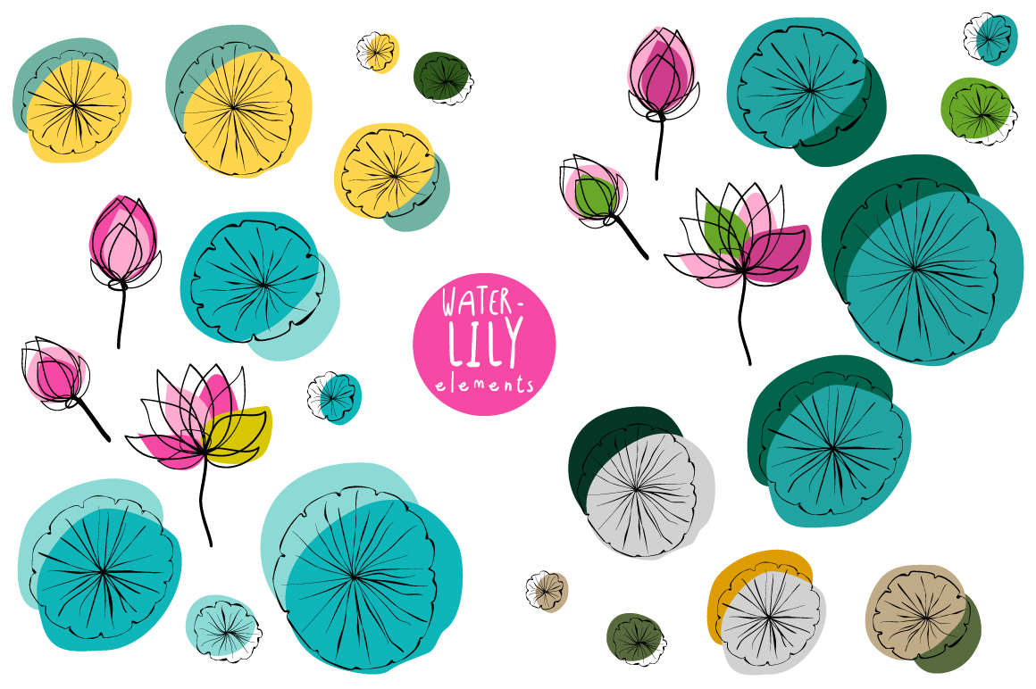Water Lily Elements and Pattern swatches example image 3