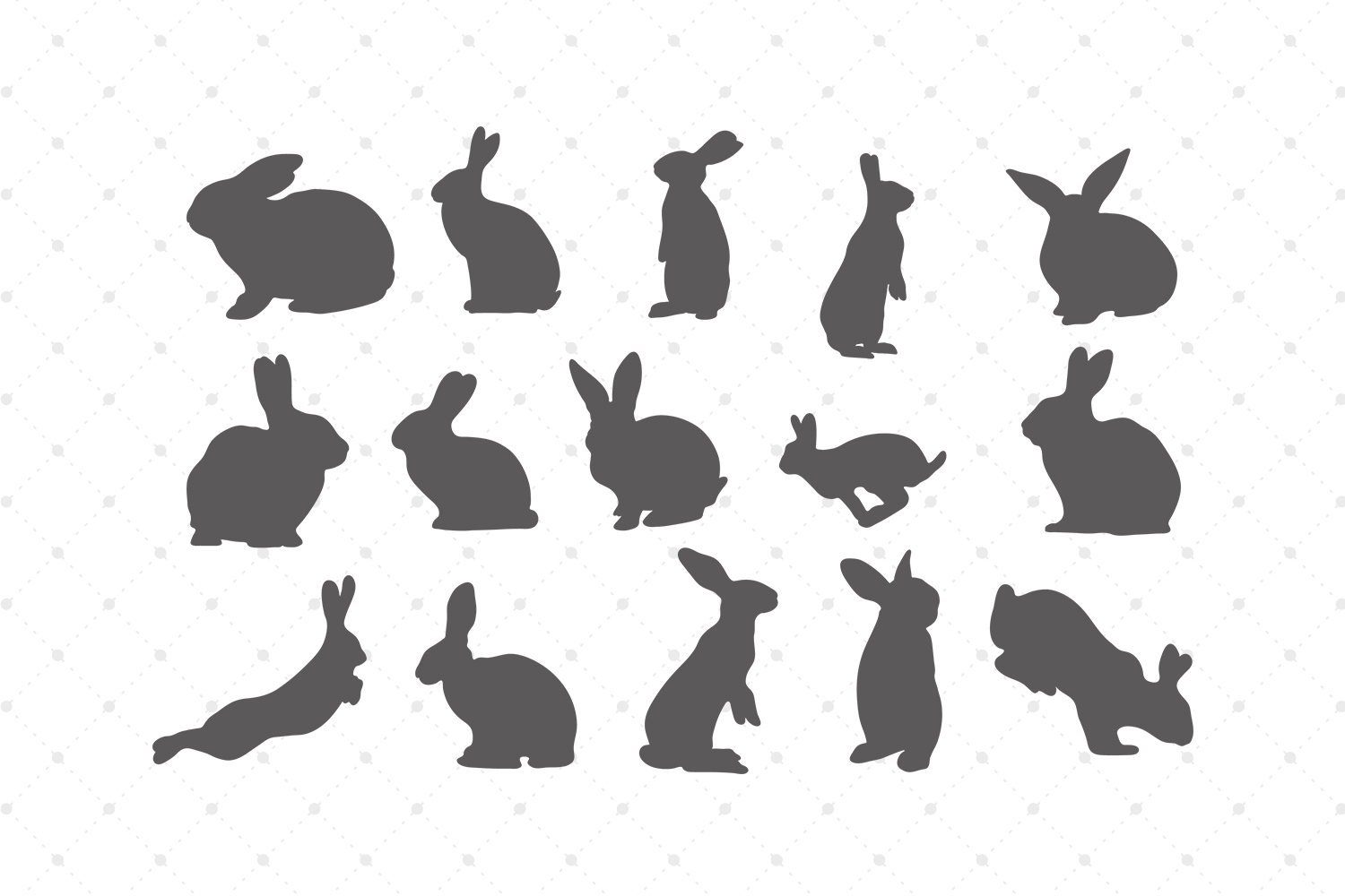Bunny Silhouettes SVG Cut Files example image 1
