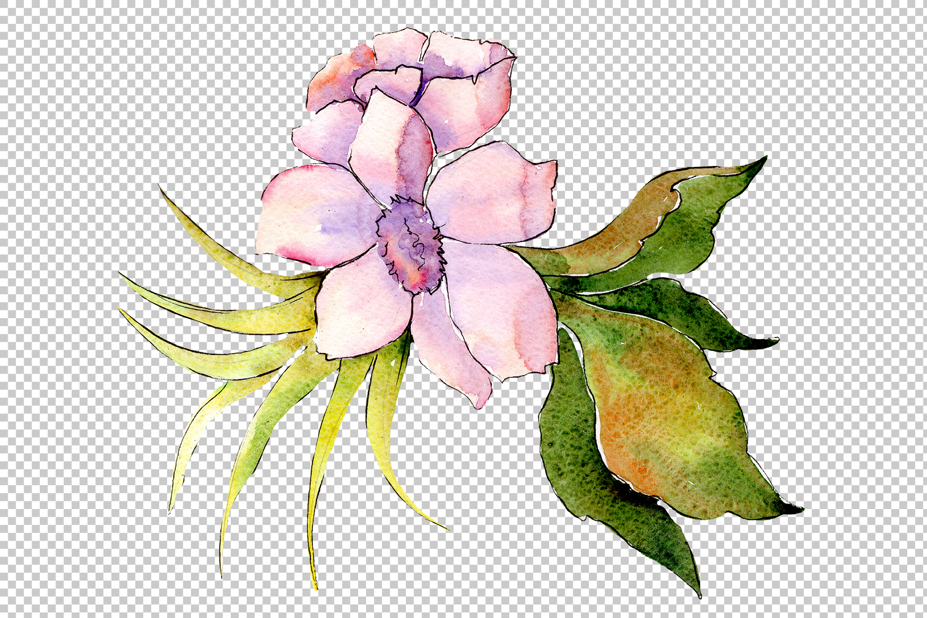 Bouquet of tropical colorful flower PNG watercolor example image 5