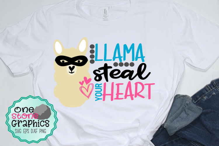 llama steal your heart svg,llama svg,valentine's day svg example image 1