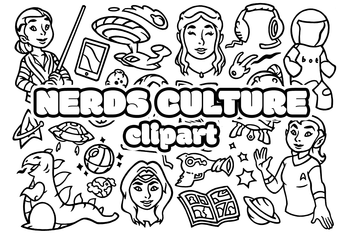 27 Nerd Culture - Scifi Movie Doodles Clipart example image 2